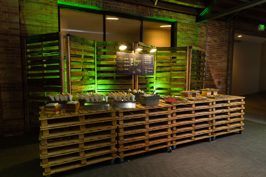 Our Burger Bar decor is completely upcycled from reclaimed wooden pallets!  Being a Community and Environmentally Conscious Business with P3 Utah Being a Community and Environmentally Conscious Business with P3 Utah i vCtm6n4