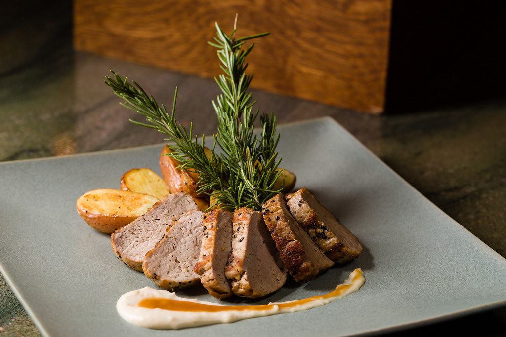 Pork with roasted potatoes serve as the entree for LeCroissant's wine pairing menu National Drink Wine Day: Wine Pairing Menu National Drink Wine Day: Wine Pairing Menu 14900994495 43bbbbc270 b