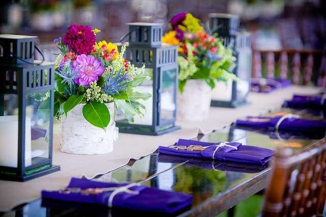 Purple, floral tablescape featured at Utah corporate barbecues Utah Corporate Barbecues by Lux Catering and Events Utah Corporate Barbecues by Lux Catering and Events 15475552280 d6a189d219 z