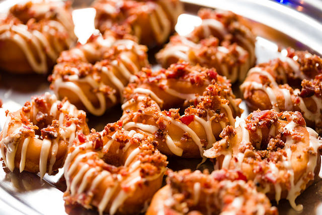 Maple bacon gourmet donuts offered by Lux Catering and Events.  National Donut Day National Donut Day 16341107951 2ae6ac913b z