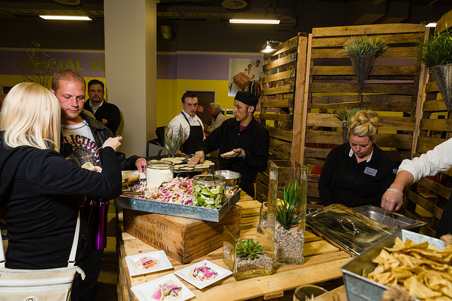 Guests enjoying our live action taco bar station. From Lux Catering and Events - Utah's premier caterer and event planner Taco Bar for Taco Day Taco Bar for Taco Day 17066415004 c0f9917eaa z