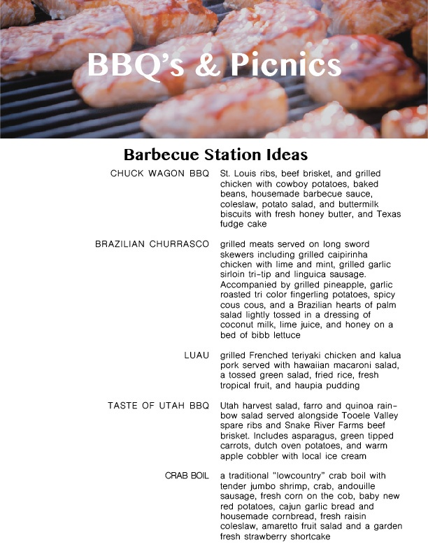BBQ menu suggestions from Lux Catering and Events, a local Utah BBQ caterer Utah BBQ caterer Utah BBQ caterer starting to book for the summer! menuplanningguide bbqpicnic 01